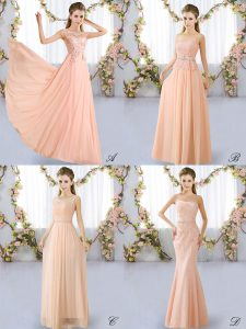 Amazing Peach Quinceanera Court Dresses Prom and Party with Lace Scoop Sleeveless Lace Up