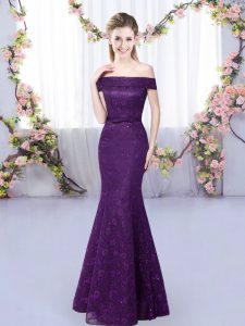 Purple Lace Up Vestidos de Damas Lace Sleeveless Floor Length
