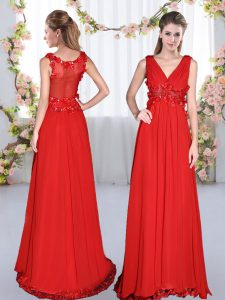 Floor Length Red Dama Dress Chiffon Sleeveless Beading and Appliques