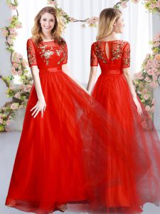 Appliques Dama Dress Red Zipper Short Sleeves Floor Length