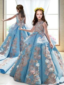 Great Blue Ball Gowns Satin High-neck Sleeveless Appliques Backless Kids Pageant Dress Court Train