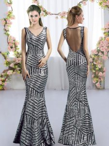 Silver Court Dresses for Sweet 16 Prom and Party and Wedding Party with Sequins V-neck Sleeveless Side Zipper