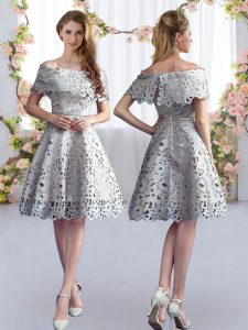Fabulous Grey Vestidos de Damas Prom and Party and Wedding Party with Lace Off The Shoulder Short Sleeves Zipper