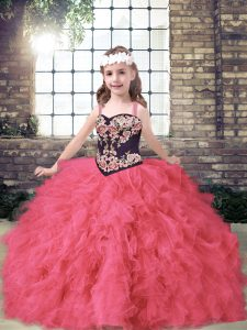 On Sale Coral Red Ball Gowns Tulle Straps Sleeveless Embroidery and Ruffles Floor Length Lace Up Little Girls Pageant Dress