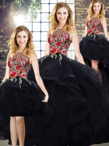 Custom Made Floor Length Black Quinceanera Dresses Bateau Sleeveless Lace Up