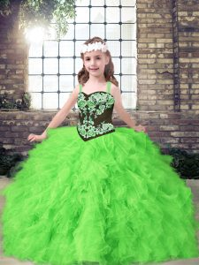 Affordable Sleeveless Floor Length Embroidery and Ruffles Lace Up Little Girl Pageant Gowns