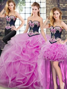 Graceful Tulle Sleeveless Sweet 16 Dresses Sweep Train and Embroidery and Ruffles