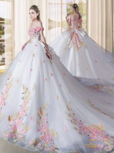 Best Selling Tulle Off The Shoulder Sleeveless Cathedral Train Lace Up Appliques 15th Birthday Dress in White