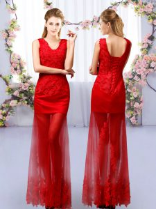Fine Red Column/Sheath V-neck Sleeveless Tulle Floor Length Lace Up Lace Dama Dress for Quinceanera