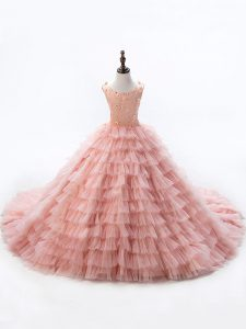 Court Train Ball Gowns Little Girls Pageant Dress Wholesale Pink Scoop Sleeveless Lace Up