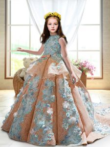 Elegant Peach Sleeveless Satin Court Train Backless Kids Formal Wear for Wedding Party