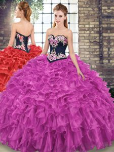 Pretty Sleeveless Sweep Train Embroidery and Ruffles Lace Up Sweet 16 Quinceanera Dress