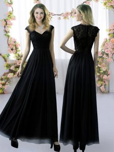 Hot Sale Black Empire V-neck Cap Sleeves Chiffon Floor Length Zipper Lace Damas Dress