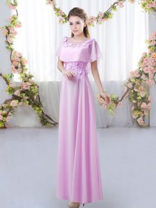Perfect Lilac Chiffon Zipper Scoop Short Sleeves Floor Length Quinceanera Dama Dress Appliques
