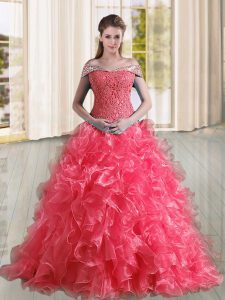 Sumptuous Off The Shoulder Sleeveless Organza Quinceanera Gown Beading and Lace and Ruffles Sweep Train Lace Up