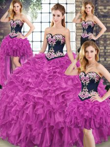 Fuchsia Quince Ball Gowns Military Ball and Sweet 16 and Quinceanera with Embroidery and Ruffles Sweetheart Sleeveless Sweep Train Lace Up