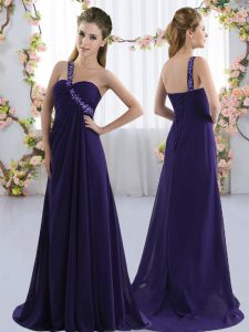 Attractive Purple Sleeveless Beading Lace Up Quinceanera Dama Dress