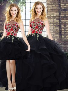 Amazing Floor Length Black Quince Ball Gowns Bateau Sleeveless Lace Up