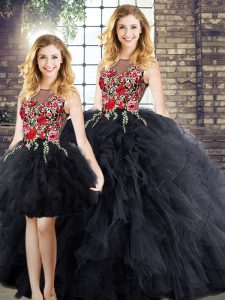 Custom Fit Floor Length Zipper Quinceanera Gown Black for Military Ball and Sweet 16 and Quinceanera with Embroidery and Ruffles