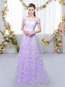Smart Cap Sleeves Tulle Floor Length Lace Up Court Dresses for Sweet 16 in Lavender with Appliques