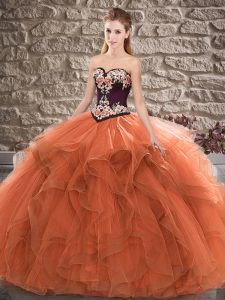 Graceful Sleeveless Beading and Embroidery Lace Up Ball Gown Prom Dress