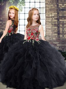 Floor Length Black Pageant Gowns For Girls Tulle Sleeveless Embroidery and Ruffles