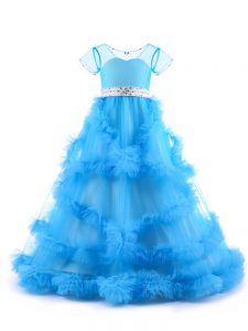 Baby Blue A-line Beading and Ruffles Kids Formal Wear Backless Tulle Short Sleeves Floor Length