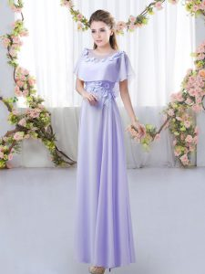 High Class Lavender Zipper Court Dresses for Sweet 16 Appliques Short Sleeves Floor Length