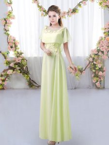 Yellow Green Empire Chiffon Scoop Short Sleeves Appliques Floor Length Zipper Vestidos de Damas