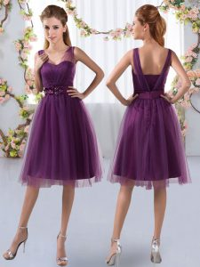 Luxury V-neck Sleeveless Damas Dress Knee Length Appliques Purple Tulle