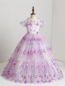 Stylish Lilac Ball Gowns Hand Made Flower Girls Pageant Dresses Zipper Tulle Short Sleeves Floor Length