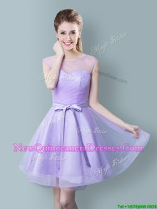 Comfortable Scoop Sleeveless Tulle Knee Length Zipper Quinceanera Court of Honor Dress inLavender forSpring and Summer and Fall withRuching and Bowknot