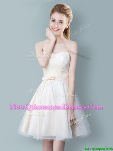 Flare Sleeveless Zipper Knee Length Ruching and Bowknot Quinceanera Court Dresses