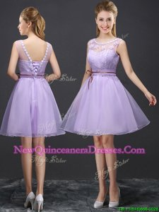 Luxurious Scoop Mini Length Lace Up Quinceanera Dama Dress Lavender and In for for Prom withLace