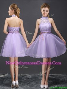 Halter Top Lace and Belt Dama Dress for Quinceanera Lavender Lace Up Sleeveless Mini Length