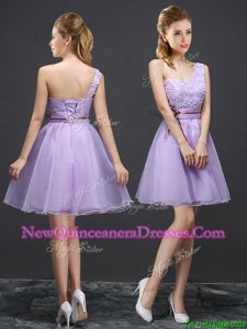 Pretty One Shoulder Sleeveless Organza Mini Length Lace Up Quinceanera Dama Dress inLavender forSpring and Summer and Fall withLace