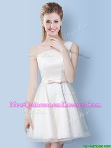 Admirable White Dama Dress Prom and Party and For withBowknot One Shoulder Sleeveless Lace Up