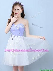 Fine Lavender Sleeveless Tulle Lace Up Quinceanera Court of Honor Dress for Prom and Party