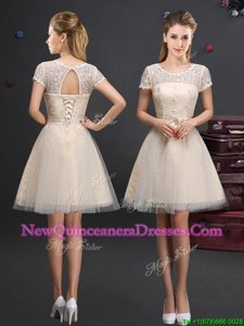Super Mini Length Champagne Dama Dress for Quinceanera Scoop Short Sleeves Lace Up