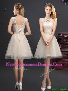 Inexpensive Scoop Lace and Appliques and Belt Vestidos de Damas Champagne Lace Up Sleeveless Mini Length