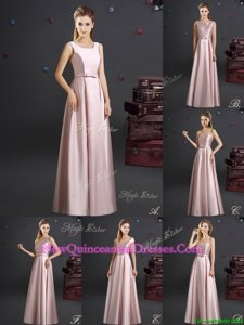 Fitting Floor Length Pink Quinceanera Court of Honor Dress Square Sleeveless Zipper