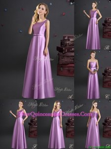 Luxurious Lilac Quinceanera Dama Dress for Prom and For withBowknot Square Sleeveless Zipper