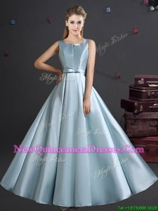 Flare Straps Straps Sleeveless Elastic Woven Satin Floor Length Zipper Dama Dress for Quinceanera inLight Blue withBowknot