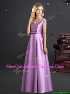 Low Price Lilac Empire Elastic Woven Satin Off The Shoulder Cap Sleeves Bowknot Floor Length Zipper Quinceanera Dama Dress