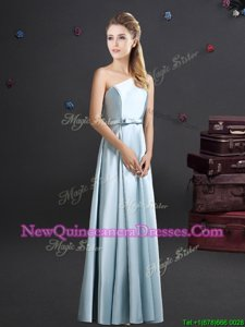 Simple One Shoulder Sleeveless Zipper Bowknot Quinceanera Court Dresses