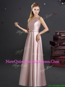 Fine One Shoulder Sleeveless Elastic Woven Satin Floor Length Zipper Court Dresses for Sweet 16 inPink withBowknot