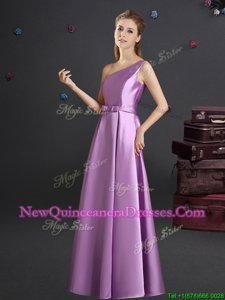 Amazing One Shoulder Spring and Summer and Fall Elastic Woven Satin Sleeveless Floor Length Vestidos de Damas andBowknot