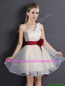 Low Price One Shoulder Mini Length Lace Up Court Dresses for Sweet 16 Champagne and In for for Prom withLace and Hand Made Flower