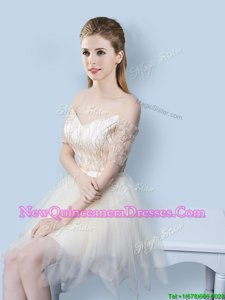 Glorious Champagne Off The Shoulder Neckline Sequins and Bowknot Court Dresses for Sweet 16 Short Sleeves Lace Up