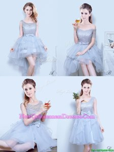 Enchanting Scoop Mini Length Lace Up Quinceanera Court of Honor Dress Grey and In for for Prom withLace and Ruffles and Ruffled Layers and Bowknot
